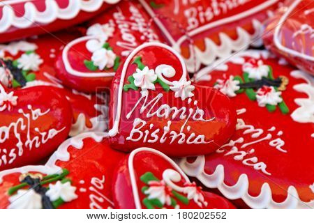 Licitars of Marija Bistrica, colorfully decorated biscuits made of sweet honey dough that are part of Croatian cultural heritage, a traditional souvenir in Croatia