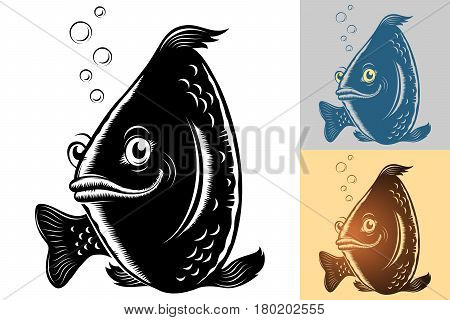Live fish swim under water smiles good-naturedly and looks forward; Vector silhouette character in the vintage hand drawing inks style