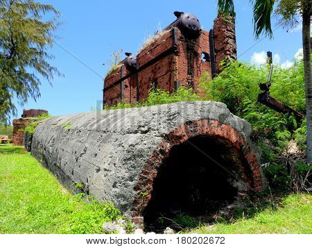 Japanese sugar mill ruins, Rota Ruins of a pre-World War 11 (1930s) Japanese sugar mill in Songsong village, Rota, Northern Mariana Islands
