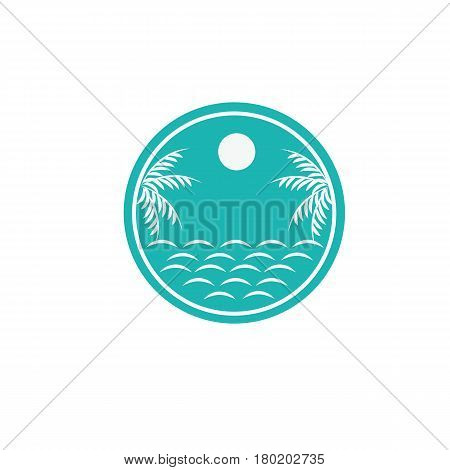 Blue sea logo with coconut Blue sea logo with coconut