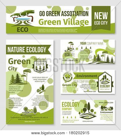 Nature ecology banner and business card template. Green city and eco park symbols with nature landscape, tree and plant for environment friendly company design