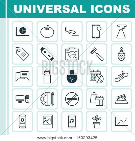 Set Of 25 Universal Editable Icons. Can Be Used For Web, Mobile And App Design. Includes Elements Such As Flowerpot, Achievement Graph, Black Friday And More.