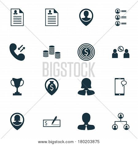 Set Of 16 Human Resources Icons. Includes Employee Location, Pin Employee, Job Applicants And Other Symbols. Beautiful Design Elements.