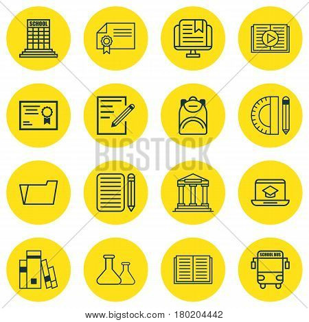 Set Of 16 School Icons. Includes Academy, Taped Book, Transport Vehicle And Other Symbols. Beautiful Design Elements.