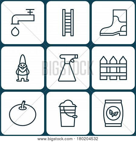 Set Of 9 Gardening Icons. Includes Spigot, Grains, Barrier And Other Symbols. Beautiful Design Elements.