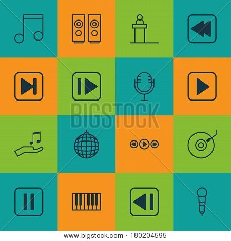 Set Of 16 Audio Icons. Includes Start Song, Following Music, Microphone And Other Symbols. Beautiful Design Elements.