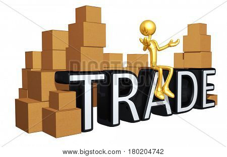 The Original 3D Character Illustration Sitting On The Word Trade With Boxes All Around