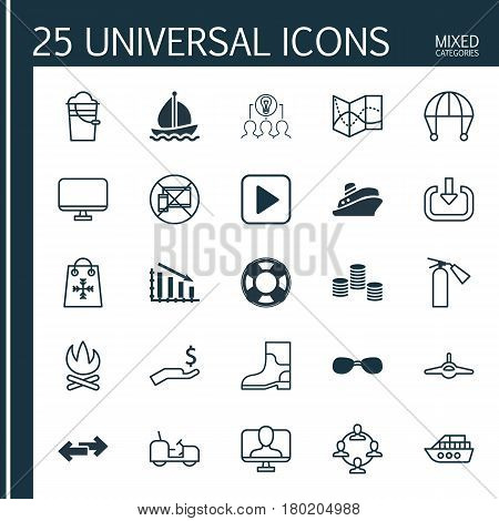Set Of 25 Universal Editable Icons. Can Be Used For Web, Mobile And App Design. Includes Elements Such As Agrimotor, Fail Graph, Bonfire And More.