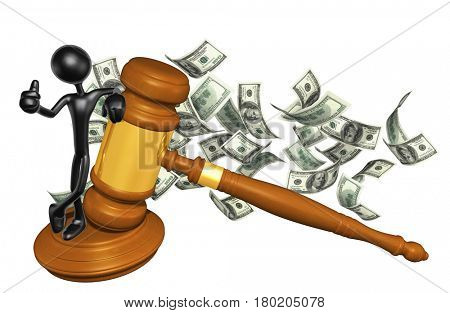 The Original 3D Character Illustration With A Gavel With Cash