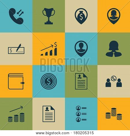 Set Of 16 Human Resources Icons. Includes Business Goal, Business Woman, Successful Investment And Other Symbols. Beautiful Design Elements.