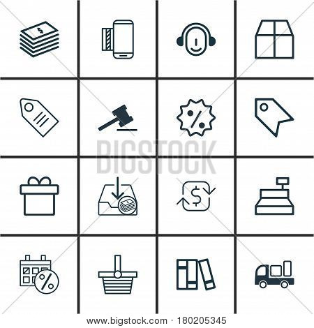Set Of 16 E-Commerce Icons. Includes Cardboard, Recurring Payements, Pannier And Other Symbols. Beautiful Design Elements.