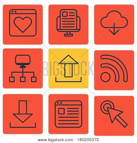 Set Of 9 Online Connection Icons. Includes Save Data, Blog Page, Login And Other Symbols. Beautiful Design Elements.