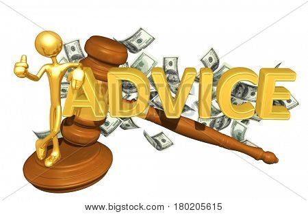 The Original 3D Character Illustration With A Gavel Leaning On The Word Advice