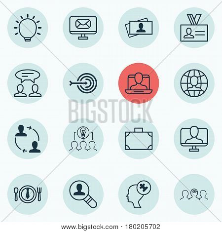 Set Of 16 Business Management Icons. Includes Email, Dialogue, Online Identity And Other Symbols. Beautiful Design Elements.