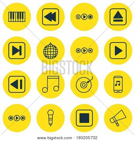 Set Of 16 Audio Icons. Includes Last Song, Music Control, Bullhorn And Other Symbols. Beautiful Design Elements.