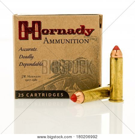 Winneconne WI - 31 March 2017: Box of Hornady ammunition in 357 magnum on an isolated background.