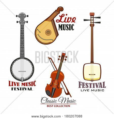 Musical instrument isolated icon set. Live music concert and ethnic musical festival emblem with violin, sitar, banjo and mandolin. Classic orchestra and folk band symbol design