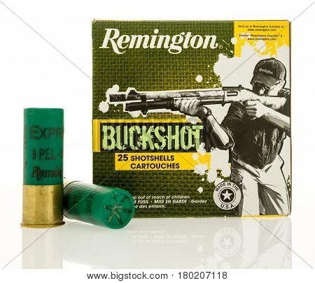 Winneconne WI - 31 March 2017: Box of Remington ammunition shotgun shells in 12 gauge on an isolated background.