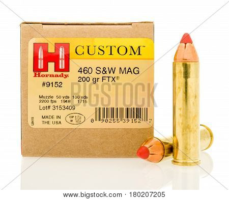 Winneconne WI - 5 April 2017: A box of Hornady custom 460 magnum hollow point bullets on an isolated background.