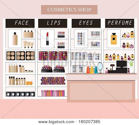Cosmetics store interior with products on shelves shopping beauty shop cosmetic products health and beauty vector illustration.