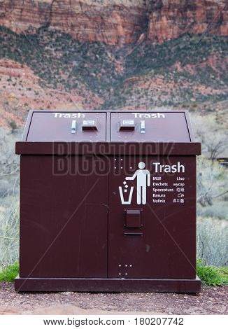 Bear Proof Trash Bin with Ten Languages in national park
