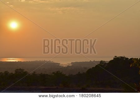 Atmosphere before sunset at reservoir in Ubon Ratchathani Northeastern of Thailand