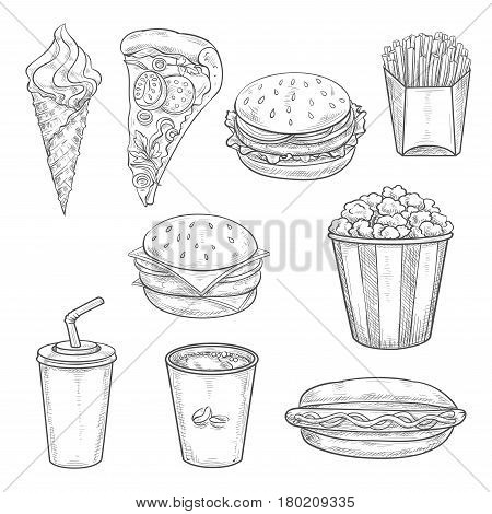 Fast food sandwiches, drinks and dessert isolated sketch. Hamburger, pizza, hot dog, takeaway coffee cup, french fries, cheeseburger, sweet soda, ice cream cone and popcorn. Fast food menu design