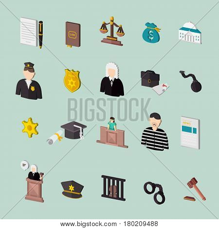 Law And Judgment Isometric Concept Icons