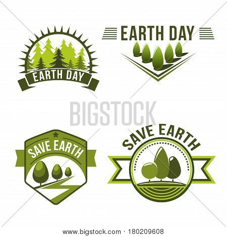 Earth Day, save planet, ecology symbol set. Green nature badge with tree and plant of eco forest and park. World environment protection day, Happy Earth Day themes design