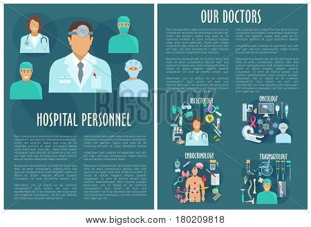 Oncology, traumatology, infectology and endocrinology hospital department medical personnel brochure. Doctor with pills, syringe and heart, brain, thermometer and blood, bone, joint, x-ray and MRI