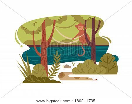 Wild jungle forest with stormy river and animals. Vector illustration