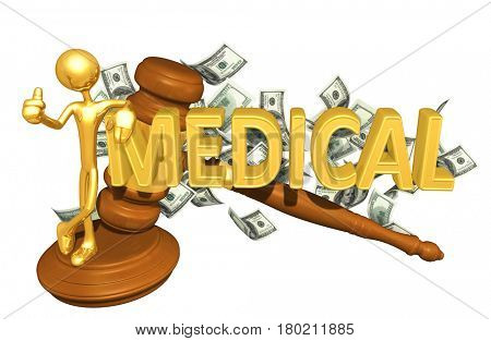 The Original 3D Character Illustration With A Gavel Leaning On The Word Medical
