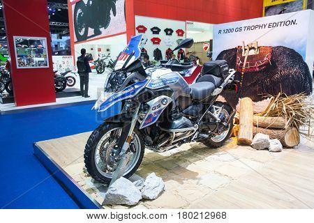 Bangkok Thailand. 28th Mar 2017. BMW GS 1200 adventure motorcycle on display at The 38th Bangkok International Thailand Motor Show 2017 on March 28 2017 Nonthaburi Thailand