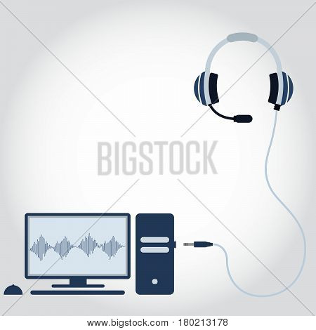 Pc And Headphone With Microphone