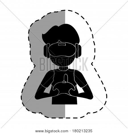 gamer with virtual reality glasses vector illustration design poster