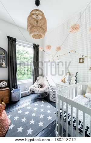 A bright modern baby nursery room