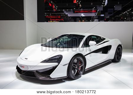 Bangkok Thailand. 28th Mar 2017. Mclaren 570s on display at The 38th Bangkok International Thailand Motor Show 2017 on March 28 2017 Nonthaburi Thailand