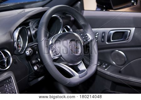 Bangkok Thailand. 28th Mar 2017.Inside of Mercedes Benz SLC 43 car on display at The 38th Bangkok International Thailand Motor Show 2017 on March 28 2017 Nonthaburi Thailand