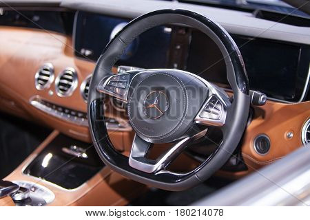 Bangkok Thailand. 28th Mar 2017.Inside of Mercedes Benz S 500 Cabriolet car on display at The 38th Bangkok International Thailand Motor Show 2017 on March 28 2017 Nonthaburi Thailand