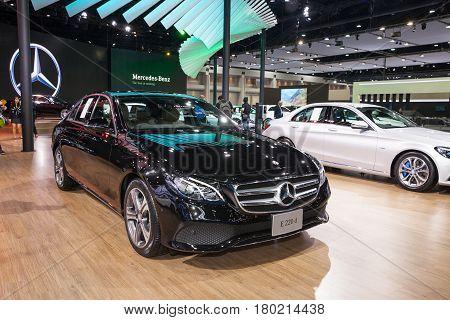 Bangkok Thailand. 28th Mar 2017. Mercedes benz E 220 d car on display at The 38th Bangkok International Thailand Motor Show 2017 on March 28 2017 Nonthaburi Thailand
