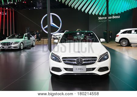 Bangkok Thailand. 28th Mar 2017. Mercedes benz C 350 e car on display at The 38th Bangkok International Thailand Motor Show 2017 on March 28 2017 Nonthaburi Thailand
