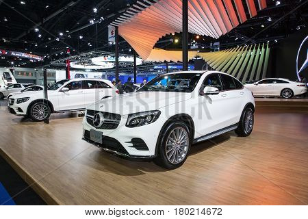 Bangkok Thailand. 28th Mar 2017. Mercedes benz GLC 250 d car on display at The 38th Bangkok International Thailand Motor Show 2017 on March 28 2017 Nonthaburi Thailand