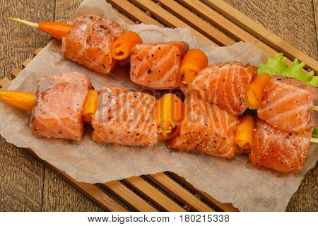 Raw Salmon Skewer