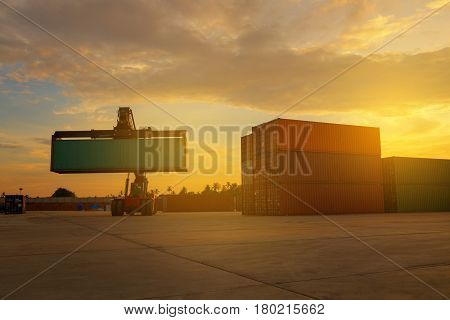 Business Logistic forklift truck container shipping cargo of Asia center best in South East Asia.