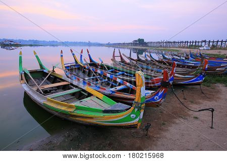 Boat service for tourists in U Bein Bridge Mandalay Myanmar
