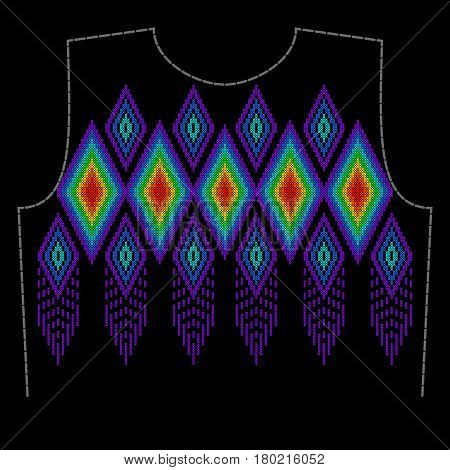 Stylish, fashionable, bright geometric ornament for cross stitch textile products. A pattern for embroidery the neck of clothing