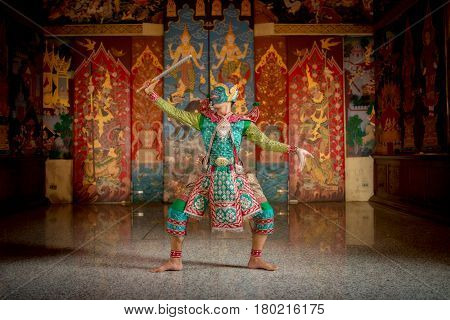 THAILAND KHON Charecter in Ramayana story masked traditional dance best of Thailand.