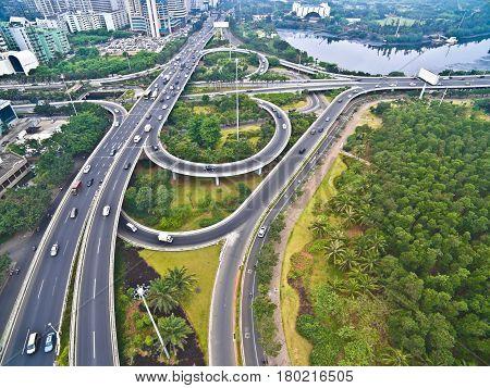 Aerial Photography Bird-eye View Of City Viaduct Bridge Road Landscape