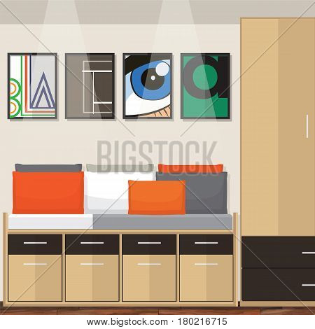 Interior of a room. Modern flat design illustration