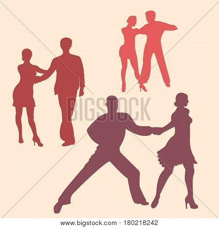 Latina couple dancing silhouettes. Vector eps10 illustration.